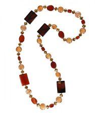 Edelstein Halskette Achate+Glassteine 80-90 cm, Farbwahl
