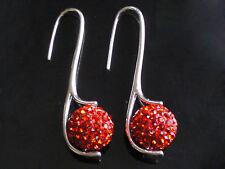 Shamballa Boucles d'oreilles rouge Cristaux en boule argent pendantes CC125