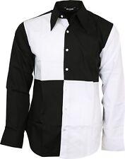 Relco Esclusivo Uomo Giullare Arlecchino Bianco Nero Camicia Festa Stage Costume