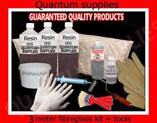3 METRI ² in Fibra di Vetro Riparazione Kit + Strumenti - 3mx450g + 3kg resina + materiali-muffa