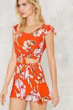 Minkpink Tangerine Dream Orange Crop Ruffle Cap Sleeve Summer Top Flower