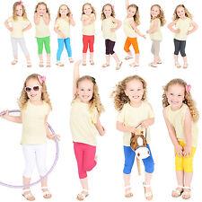 Childrens Cropped Cotton Leggings Kids 3/4 Capri Summer Ages