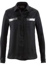 bpc Damen Bluse Abendbluse Satin schwarz Pailletten Gr. 42 46 48 52 NEU - B52