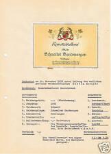 Antikes Weinetikett 1952 Schnaiter Sandmorgen