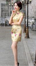 Jolie Mini Robe Chinoise Qi-Pao Jaune Fleuri en Satin Tailles au choix