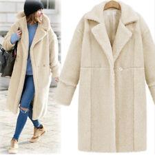 Herbst und Winter Frauen Cashmere Langarm einfarbig lang Damen Mantel Wollmantel