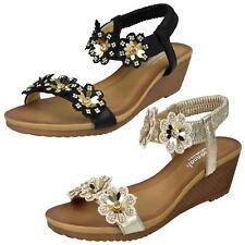 Ladies Savannah Beaded/Jeweled Wedged Strappy Slip On sandals F1R0789