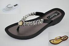 Grandco Ladies Rhinestone Low Heel Thong Sandal  Black Brown or White 24801E