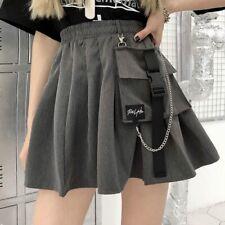 Girl Punk Cargo Japanese Goth Chain Pleated Skirt Harajuku Street Hip-Hop Dress