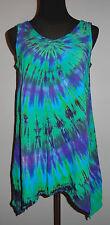 Tie dye dyed Womens Asymmetric Rayon Tank Tunic Shirt Small Medium Large XL 2XL