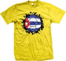Cuba Flag Soccer Ball Futbol Leones Del Caribe Team Colors CUB CU Men's T-Shirt