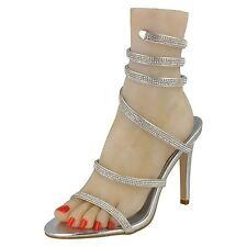 Anne Michelle F10584 Ladies Silver Diamante Ankle Straps Strappy Sandals
