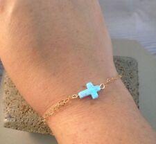 Sideways Cross Opal Gold Filled Bracelet Christian Women Jewelry Christmas Gift