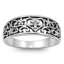 .925 Sterling Silver Vintage Bali Ring Heart Design Size 4-12 NEW