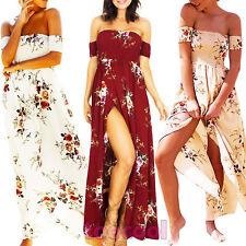 Vestito donna abito floreale spalle nude scollato spacco abito nuovo DL-2135