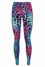 Niños y niñas Multi Leopardo Leggings Impreso 4-13 años Púrpura Rosado Neon Viscosa