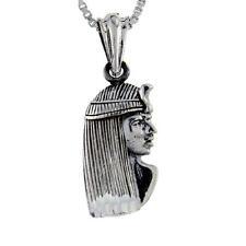 "Sterling Silver Egyptian Pharaoh Pendant / Charm, 18"" Italian Box Chain"