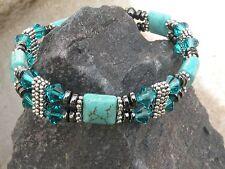 Women Magnetic Bracelet Anklet Chalk Turquoise w Blue Zircon SWAROVSKI 2 Row