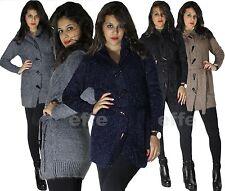 Maxipull Cardigan donna cappuccio e alamari maxi maglione lurex eco pelliccia