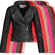 AZ Damen Kunst-Lederjacke Übergangsjacke Jacke Bikerjacke gesteppt 17069 S-XL