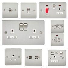 FP CROMO SATINATO Nickel Acciaio Lastra Piana SLIM Socket switch toggle USB cilindrici
