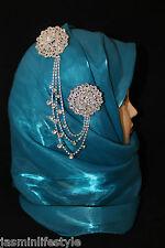 Ladies Diamante Double Chain Brooch Hijab Pin Scarf Head Piece Bridal Jewellery