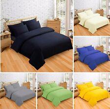 Luxury Plain Duvet Cover Set 2 / 3 Piece Poly Cotton Bedding Single Double King