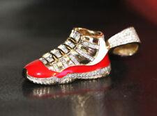 10k Yellow Gold Jumpman Jordan Red Shoe 2.0' Real Diamond Pendant 1.2ct