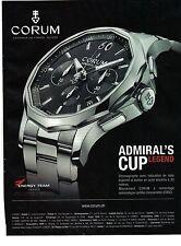 PUBLICITE 2012  CORUM  montre chronographe Amiral's Cup Legend