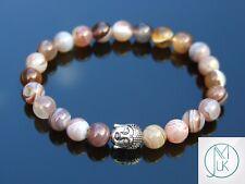 Buddha Botswana Agate Natural Gemstone Bracelet 6-9'' Elasticated Healing Stone