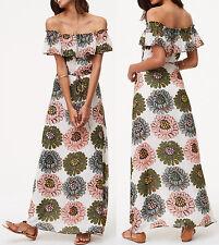 NWT Ann Taylor LOFT Floral Print Off The Shoulder Maxi Dress Size 2