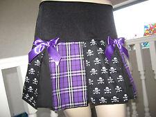New Goth Rock Black White Purple Skulls Tartan Check Party Dance Skirt All sizes