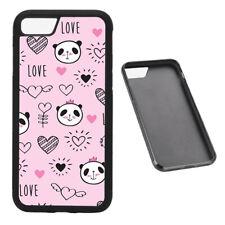 Love Panda Pattern RUBBER phone case Fits iPhone