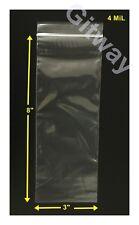 "3"" x 8""  Reclosable Resealable Ziplock Bag Zip Lock Plastic 3x8"" Bags 4 MiL"