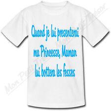 T-shirt Enfant Quand je lui presenterai ma Princesse Maman lui bottera les fesse
