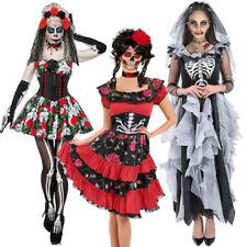 Adult Day Of The Dead Halloween Skeleton Sugar Skull Fancy Dress Costume Ladies