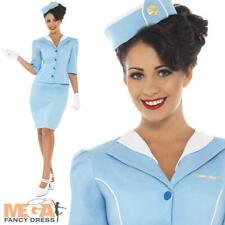 Blue Air Hostess Uniform Ladies Stewardess Fancy Dress Womens Costume + Hat 8-16