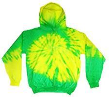 GREEN YELLOW FLO SWIRL TIE DYED ADULT HOODIE sweat shirt tye dye mens women neon
