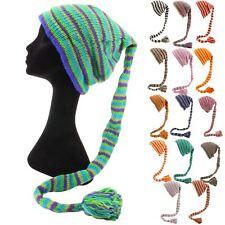 Cappello di lana Lavorato a Maglia Coda Hippy Festival con fodera Beanie 15 COLORI