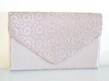 POCHETTE donna RASO BEIGE borsello ricamo elegante borsa cerimonia party bag H8