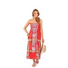 Women Cotton Summer Strappless Bandeau Dress Maxi Skirt Coral Size 10 12 - Boho