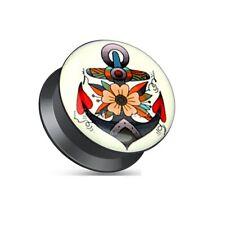 coolbodyart acrylharz cierre de Rosca Enchufe Negro Ancla Con Flores de colores