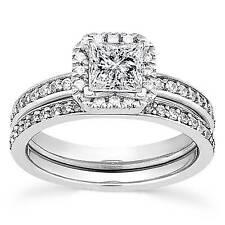 1ct Princess Cut Halo Diamond Engagement Ring Set 14K White Gold