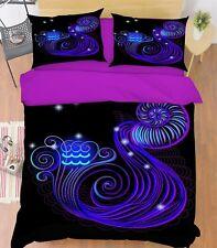 3D Aquarius 40 Bed Pillowcases Quilt Duvet Cover Set Single Queen King Au Cobb