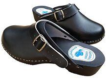 Mens Work Clogs Garden Kitchen Nurse Hospital Slip On Leather Shoes Mules