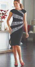 Midnight Velvet Formal Dinner Party Church Black White Leopard Sheath Dress 8