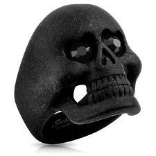 Stainless Steel Matte Black Skull w/ Heart Eyes 0.90 Carat CZ Men's Ring 9-13