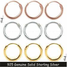 Women Men 18K Filled Over 925 Sterling Silver Hinged Hoop Sleeper Earring