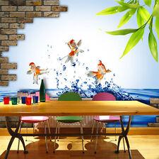 3D Poisson Rouge La Photo Papier Peint en Autocollant Murale Plafond Chambre Art