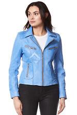Rider Ladies Blue multiplication Biker Motorcycle Style Real Italian Leather Jacket 9823